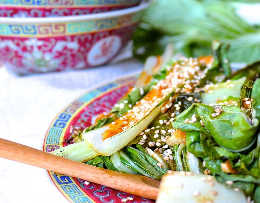 Sesame Ginger Garlic Glazed Bok Choy