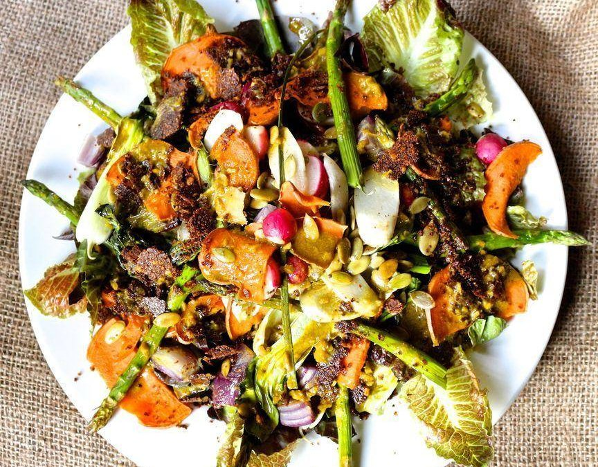 Roasted Sweet Potato, Asparagus & Radish Salad with Hemp Garlic Mustard Dressing