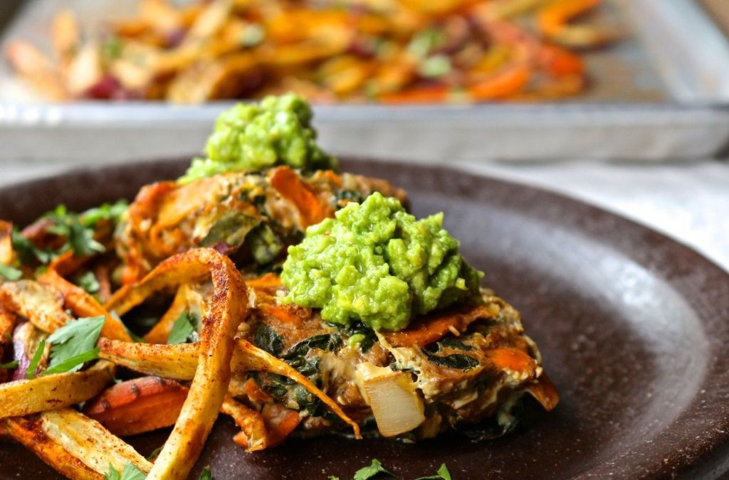 Loaded Veggie Beef Burgers with Spicy Sweet Potato Fries & Guacamole